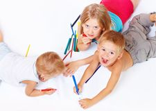 Group of children drawing Royalty Free Stock Image