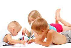 Group of children drawing royalty free stock photos