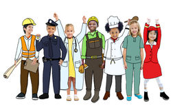 Group of Children in Dreams Job Uniform Stock Images