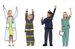 Group of Children in Dreams Job Uniform Celebration Royalty Free Stock Photography
