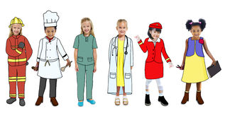 Group of Children in Dreams Job Uniform Stock Image