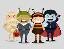 Group of children dressed up in halloween. Vector illustration design stock illustration