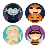 Group of children dressed up in halloween. Vector illustration design vector illustration