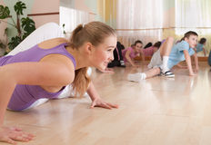 Group of children engaged in physical training. Royalty Free Stock Photos
