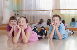 Group of children engaged in physical training. Royalty Free Stock Photo