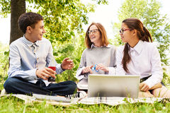 Group of Children Enjoying Picnic Outdoors. Group of modern schoolchildren enjoying picnic on green lawn, chatting and using laptop Royalty Free Stock Photography