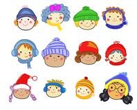 Group of children face set,drawing sketch royalty free illustration