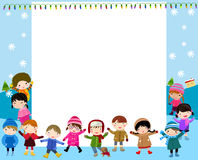 Group of children and frame Stock Photos