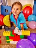 Group children game blocks on floor Royalty Free Stock Photo