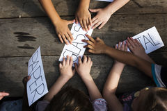 Group of children hand with word of recycle stuff Royalty Free Stock Image