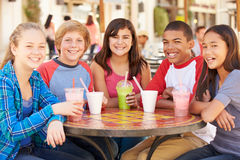 Group Of Children Hanging Out Together In CafŽ royalty free stock photo