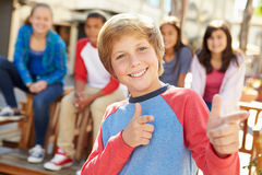 Group Of Children Hanging Out Together In Mall Stock Photos