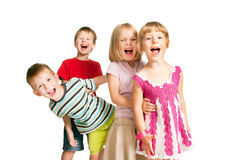 Group of children having fun, playing, screaming. Royalty Free Stock Photography