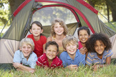 Group Of Children Having Fun In Tent In Countryside Stock Images
