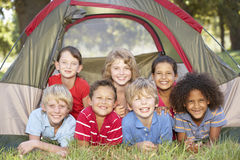 Group Of Children Having Fun In Tent In Countryside Stock Photos