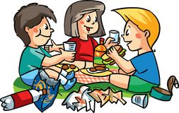 A group of children having picnic and making misery around them. Vector illustration. Stock Photography