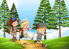 Group of children hiking in the park Stock Images