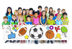 Group of Children Holding Board Stock Images