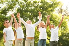 Group of children holding hands up in park stock photography