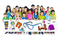 Group of Children Holding Summer Concept Billboard Royalty Free Stock Photo