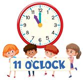 A group of children holding time banner stock illustration