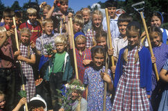 Group of children at Hutterian Brethren Church. Norfold, CT stock photography