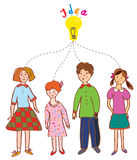Group of children with idea bulb Stock Photography