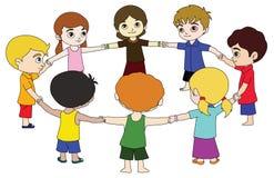 Group of children. Illustration of a group children on a white background stock illustration