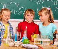 Group children keep flasks on lesson in chemistry class. Royalty Free Stock Images