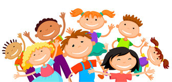 Group of children kids are jumping joyful white background bunner cartoon funny vector character. illustration Stock Photo