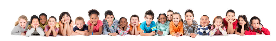 Group of children. Large group of children posing isolated in white stock photos
