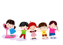 Group of children measuring weight Royalty Free Stock Image