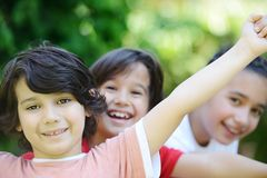 Group of children outside royalty free stock photos