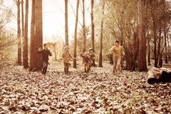 Group of children in the park. stock photos