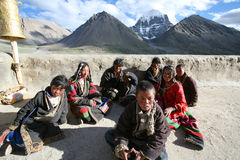 A group of children on a pilgrimage. Around MT Gang Rinpoche (Kailash royalty free stock photos