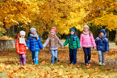 A group of children play in the park yellow autumn. Little boys Stock Photo