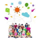Group of Children and Playful Symbols Stock Image