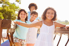 Group Of Children On Playground Climbing Frame Royalty Free Stock Images