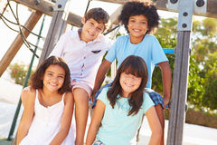 Group Of Children On Playground Climbing Frame Royalty Free Stock Photos