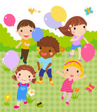 Group of children playing. Illustration of group of children playing Royalty Free Stock Images