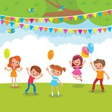 Group of children playing with balloons and having fun outdoors. Stock vector cartoon illustration Stock Photography