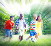 Group of Children Playing Football Concepts Royalty Free Stock Photos