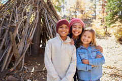 Group Of Children Playing In Forest Camp Together Royalty Free Stock Photography