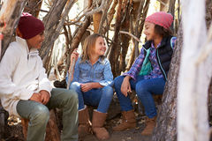 Group Of Children Playing In Forest Camp Together Stock Images