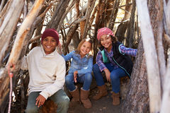 Group Of Children Playing In Forest Camp Together Royalty Free Stock Image