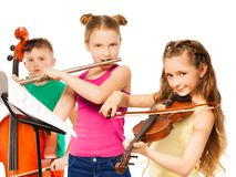 Group of children playing on musical instruments. Group of cute children playing on musical instruments together on white background Stock Images