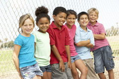 Group Of Children Playing In Park. Group Of Children In Park Looking Serious royalty free stock photography