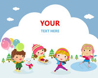 Group of children playing in the snow in the winter Royalty Free Stock Image