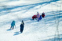 Group of children playing on snow in winter time. Togetherness, vacations, kid Stock Photography