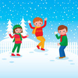Group of children playing snowballs Stock Photography